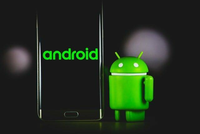 móvil android y logo