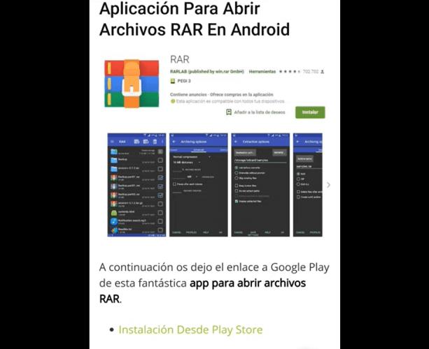 Aplicación RAR en Google Play