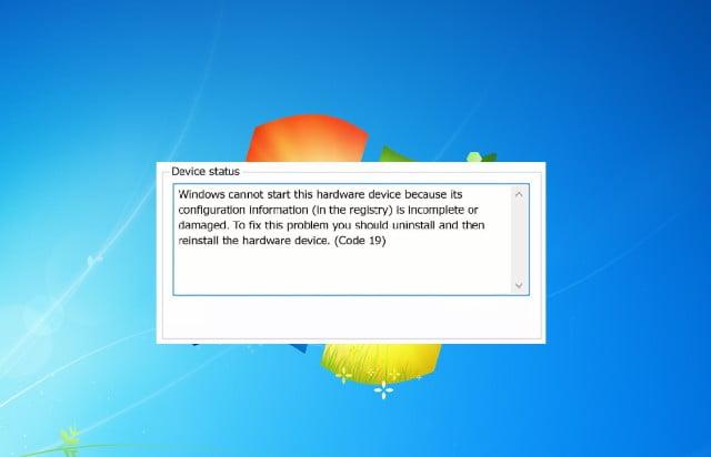 Corregir errores del código 19 windows