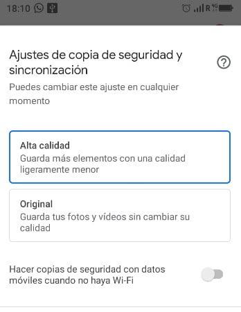Liberar espacio de almacenamiento en android subiendo fotos a google