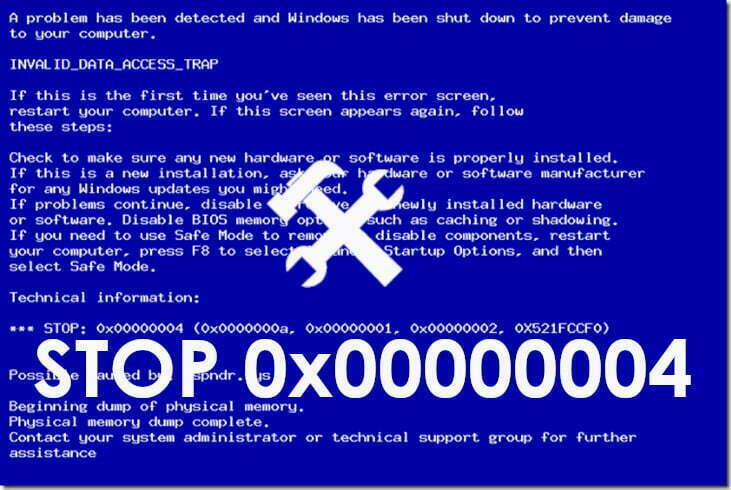 Cómo reparar errores STOP 0x00000004 de Windows