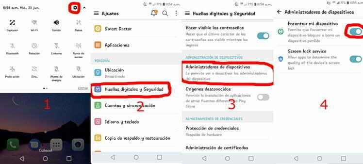 Ejemplo en Android 7.0.1 para llegar hasta el Administrador de Aplicaciones